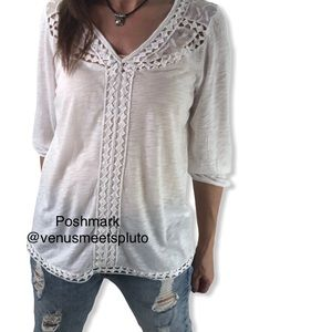 Lucky Brand White Embroidered Lace Trim Top Sz M